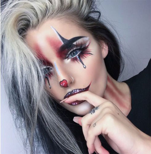 Halloween-Clown-Makeup-Looks-Ideas-For-Girls-Women-2019-17