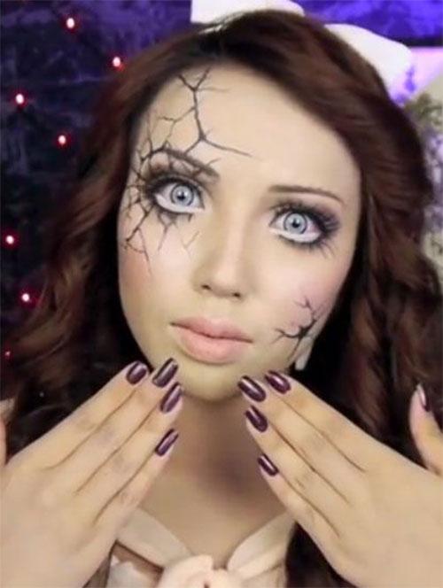 Halloween-Doll-Face-Makeup-Ideas-2019-Broken-Doll-Makeup-3