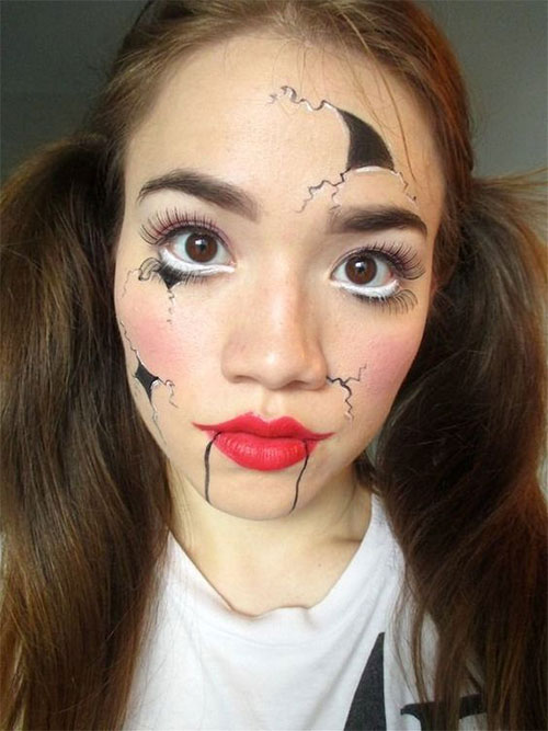 Halloween-Doll-Face-Makeup-Ideas-2019-Broken-Doll-Makeup-4