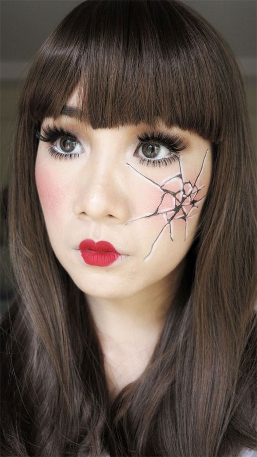 Halloween-Doll-Face-Makeup-Ideas-2019-Broken-Doll-Makeup-9
