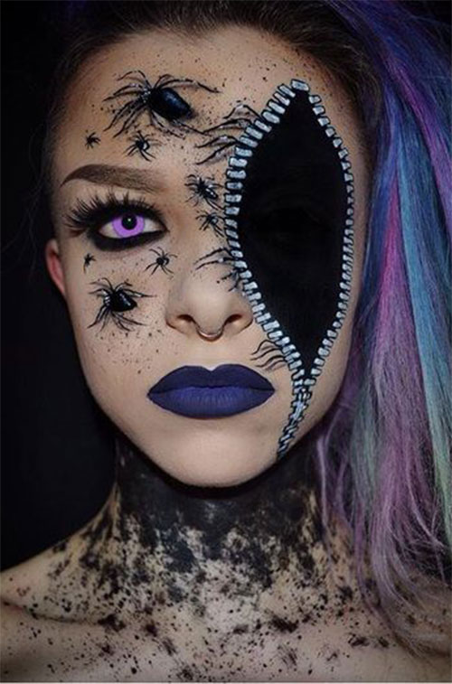Halloween-Zipper-Makeup-Looks-Ideas-For-Girls-Women-2019-11