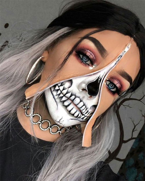 Halloween-Zipper-Makeup-Looks-Ideas-For-Girls-Women-2019-12