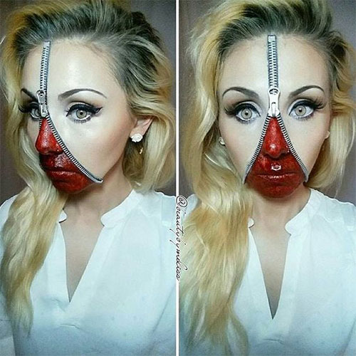 Halloween-Zipper-Makeup-Looks-Ideas-For-Girls-Women-2019-17