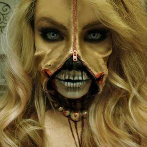 Halloween-Zipper-Makeup-Looks-Ideas-For-Girls-Women-2019-2