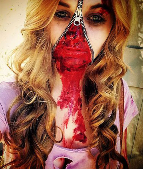 Halloween-Zipper-Makeup-Looks-Ideas-For-Girls-Women-2019-3