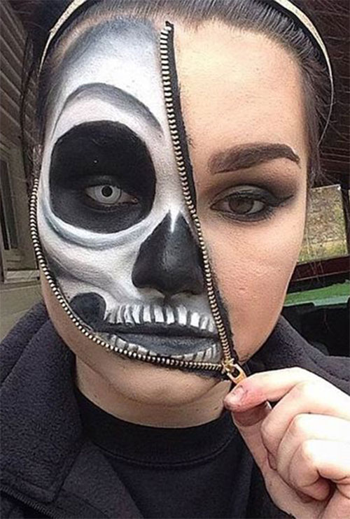 Halloween-Zipper-Makeup-Looks-Ideas-For-Girls-Women-2019-4