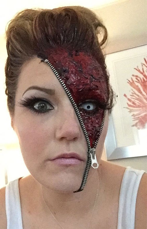 Halloween-Zipper-Makeup-Looks-Ideas-For-Girls-Women-2019-8