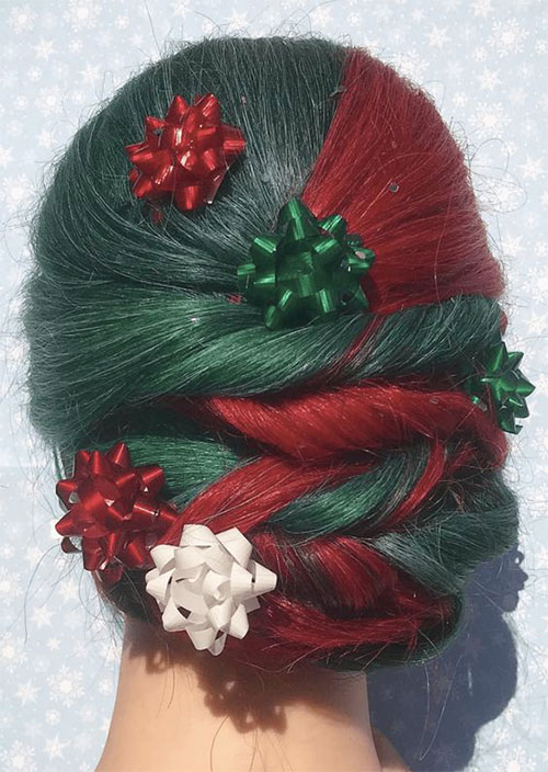 Christmas-Themed-Hairstyle-Ideas-For-Short-Long-Hair-2019-7